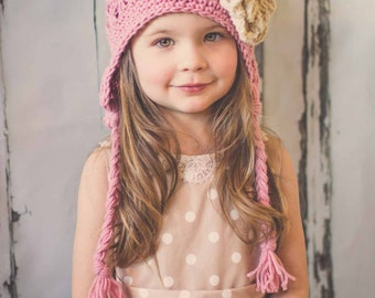 Crochet Girl Hat, Flower Hat, Jilly Beanie, Baby Hat, Little Girl Hat, Kids Hat, Children Hats, Women Hats, Flower Hat, Photo Prop