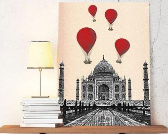 Taj Mahal  Red Hot Air Balloons Print Art Poster Digital Print, Poster Print wall art decor wall  Wall Hanging India