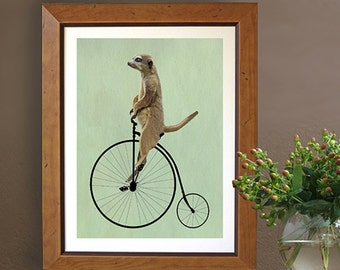 Meerkat  Penny Farthing - student wall art college dorm room decor home office decor leaving gift Whimsical art print geekery poster