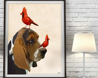 Basset Hound Art Print - Red Cardinals - Basset hound gift Cute Basset Hound Print cute gift for girlfriend gift for lovers sister birthday