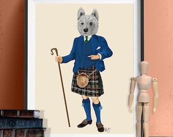 Westie in Kilt Westie print West Highland Terrier Print Terrier Illustration Terrier Picture Painting Dog print Scottish Terrier westie dog