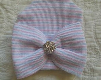 Pink, White and Blue Hospital Newborn Beanie with matching  Bow and added Sparkle!  Newborn Hat, Baby Girl Hospital Hat, Newborn Girl Hat