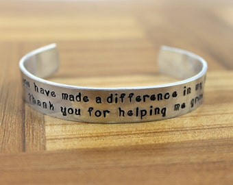 "Teacher Gift / Teacher Appreciation / ""you have made a difference in my life.  thank you for helping me grow"" bracelet / Daycare Gift"