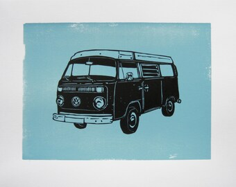 VW Campervan print - campervan on blue, retro art print, gift for traveller
