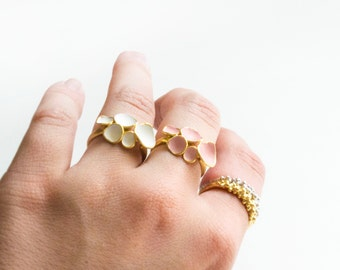 Gold / pink geo ring bubbles
