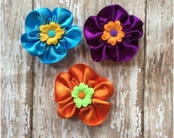 SALE Colorful Satin Flower Hair Clip Set, Girls Hair Bows, Toddler Alligator Clips, Hair Bows, Flower Barrettes, Flower Girl, Hair Bow Set