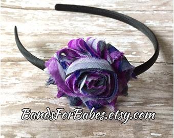 SALE Purple Swirl Shabby Chic Flower Satin Wrapped Headband, Toddler Headband, Teen Headband,  Adult Headband, Hair Bow, Hair Accessory, Bow
