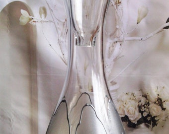 Hand painted bottle Silver tulip