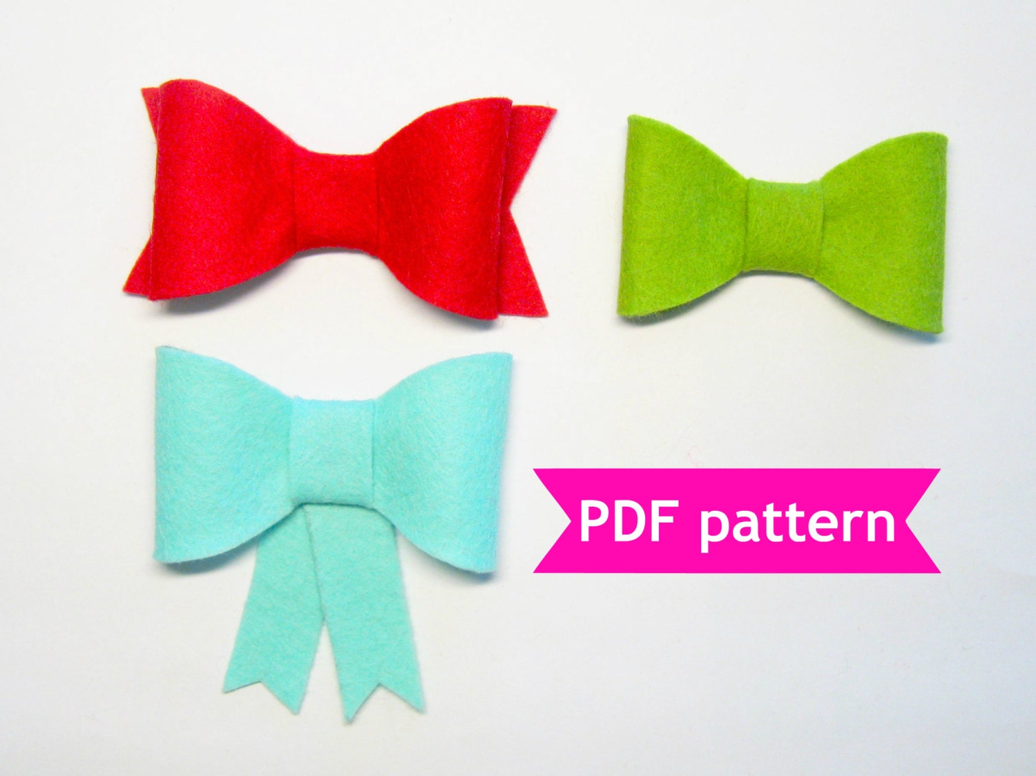 Felt bow pattern 3 shapes pdf sewing tutorial instructions for Felt bow tie template