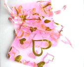 Organza Gift Bags Pink With Gold Hearts Set of 10