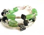 Multi Layer Beaded Bracelet, 3 Strand Butterfly Bracelet Jade and Black, Girly Boho Jewelry, Multi strand Green