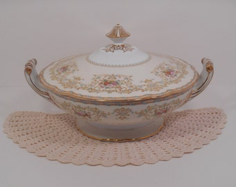 Noritake M Morimura 1930s Thalia Covered Serving Dish Vegetable Bowl Casserole