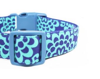 Blue Floral Girl Dog Collar Turquoise Girly Dog Collar - Madison
