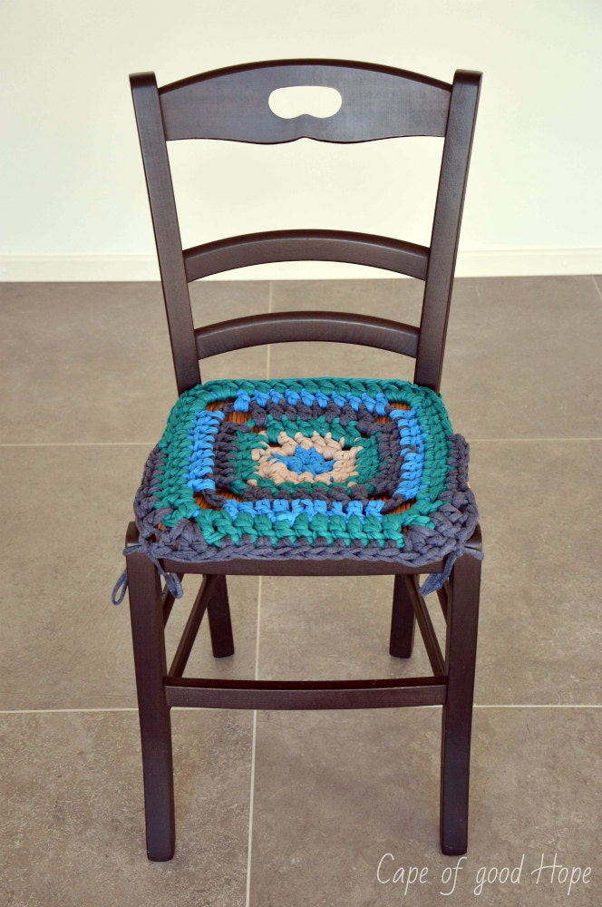 Crochet grandma 39 s chair seat cover seat rug slipcover - Crochet chair cover pattern ...