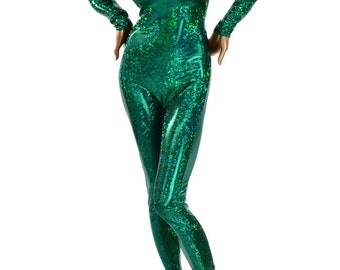 Emerald Green Shattered Glass Holographic Metallic Catsuit     150122