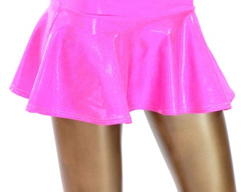 Bubble Gum Pink Holographic Metallic Circle Cut Mini Skirt Rave Clubwear EDM  -150200