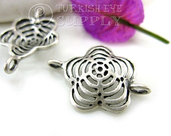 3 pc Fretworked Flower Connector, Antique Silver Plated Brass Turkish Jewelry