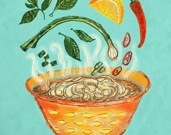 Pho Bowl Art Print, 8 x 10, Illustration, Ink Drawing, Kitchen Art