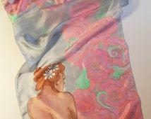 Virgo silk scarf. Hand painted silk scarf with Virgo zodiac sign.  Zodiac scarf. Virgo gift. Ready to ship.