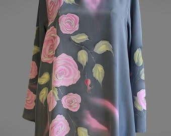 Hand painted silk top. Grey and pink silk blouse.  Floral silk top. Long silk tunic. Ready to ship.