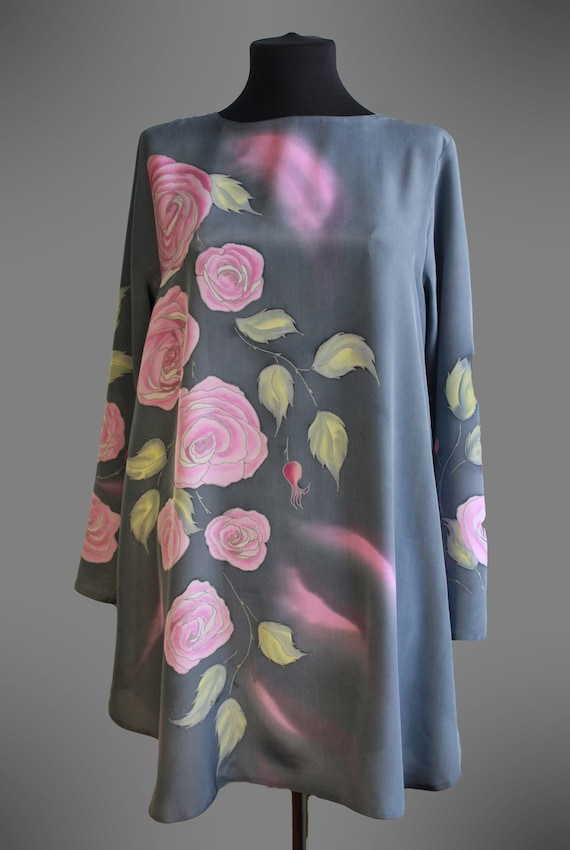 Hand Painted Silk Top Grey And Pink Silk Blouse Floral Silk