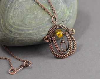 Celtic wire wrapped acorn pendant pagan copper wire weave necklace Baltic amber gemstone copper wire handmade jewelry druids oak tree growth