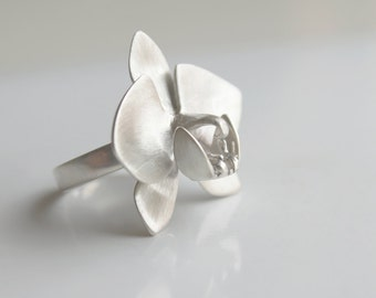 Handmade Silver Orchid Ring. Flower ring. Silver ring.