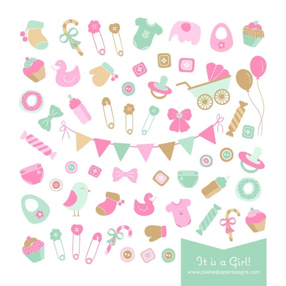 Baby Shower Clip Art - It is a Girl! Digital Graphics for Photography, Birthday, Baby Shower, DIY, etc | Commercial License Available