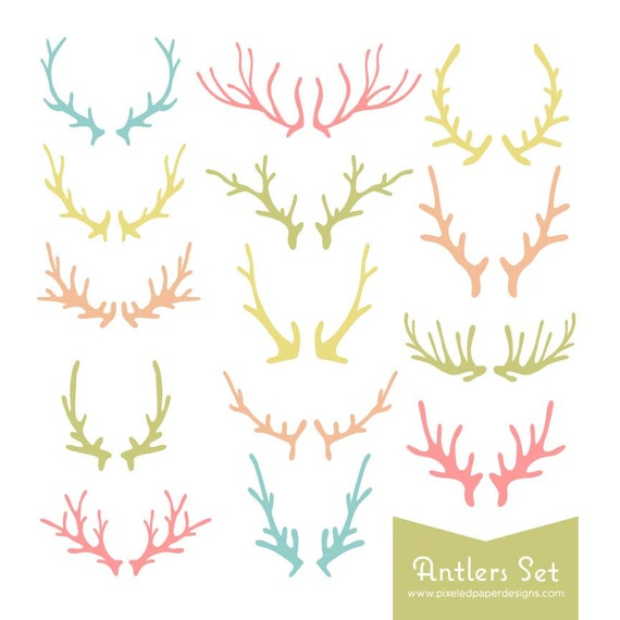 Antlers Digital Clipart -  Bright Pastel Colored Antler Graphics for Wedding Invites, Photography, DIY | Commercial License Available