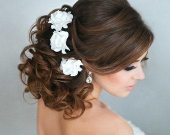 Bridal Hair flower roses, Wedding Hair flower, Bridal Flower pins, Bridal flower clip, rose hair clip, Clay flower, Bridal hair accessories