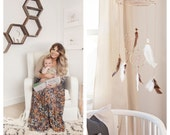 Dreamcatcher Mobile - Brown Boho Bohemian Baby Tribal Crib Nursery Baby Feathers Baby Boy Girl