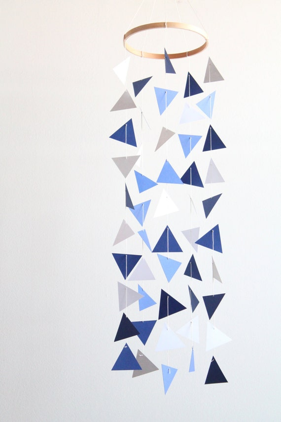Items similar to geometric triangle mobile blue baby boy for Baby shapes mobile