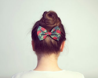 Hunter Green Hair Bow Barrette. Floral Hair Bow Clip. French Rose Pattern Fabric Ponytail Holder.