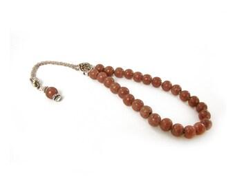 Rhodolite Worry Beads, Komboloi, Metal Master Bead, Silver Tone Chain Komboloi, Rhodolite Beads 8mm, Greek Komboloi