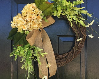 Summer wreath for door, porch wreaths, housewarming gift, front door wreath, summer decor