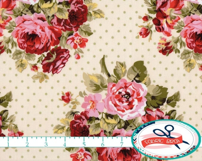 SHABBY ROSE Fabric By The Yard Fat Quarter Sage Green Pink Shabby Chic