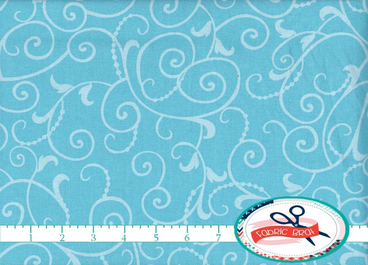 Blue swirls fabric by the yard fat quarter baby blue by for Baby fabric by the yard