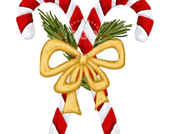 Candy Cane Clip Art, Invitation Art, holiday clip art,  candy cane art, candy canes with bow and greenery, Christmas clip art