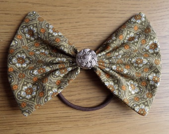 Large Kelly and Gold Ponytail Hair Bow