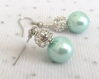Mint Green Bridesmaid Rhinestone Pearl Earrings, Seafoam Mint Green Wedding Jewelry Sets, Mint Bridesmaid Earrings Jewelry Gift