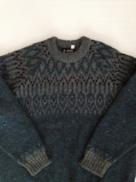 Fair Isle Sweater England / Smokey Teal Green Blue Gray /