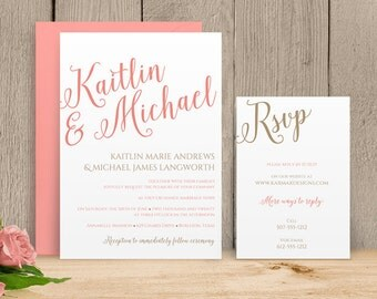 You Can Change the Color! DiY Wedding Invitation Template - Download Instantly - EDITABLE TEXT - Calligraphy  - Microsoft® Word Format