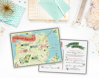 Custom Wedding MAP- Any Location Available- Boston, MA Map Pictured- Custom Illustrated Wedding Map- Custom Map for Out of Town Bags- Maps