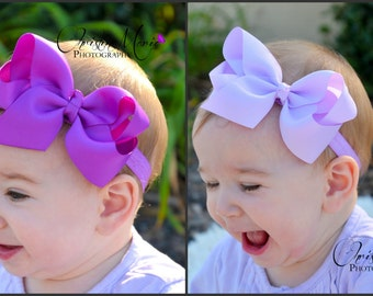 Baby headbands, baby girl headband or clip, purple bow, lavender bow, infant headbands,  baby bows, girls bows