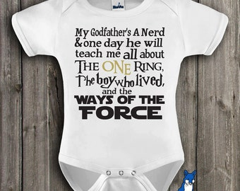 Geekery baby clothes,Baby clothing-Baby bodysuit- My Godfathers A Nerd-The One Ring-The Boy Who Lived-Ways of the Force-Blue Fox Apparel-202