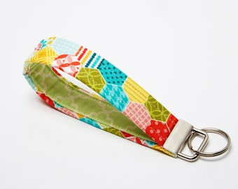 Key Wristlet, Fabric Key Fob, Handmade Keychain - Bright Rainbow Hexagon