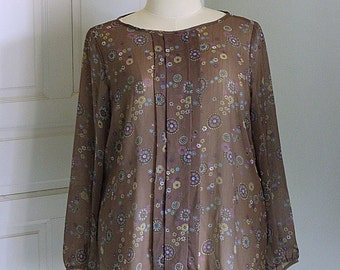 50% Sale !!!Brown Chiffon Classic Blouse Plus Size 20W - 22W Plus Size Blouse