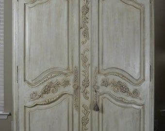 sold antique shabby chic hand painted armoire by. Black Bedroom Furniture Sets. Home Design Ideas