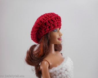 Fashion Doll Slouchy Beanie Hat ©, Barbie Clothes, Red, Hand Crocheted to fit a Barbie or Ken Doll (this is not a Mattel product)