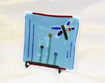 Fused Glass Plate - Square Fused Glass Plate - Blue Dragonfly Plate - Dragonfly Fused Glass Plate